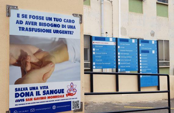 Sensibilizzazione alla donazione, il nostro cartellone all'Ospedale di San Gavino