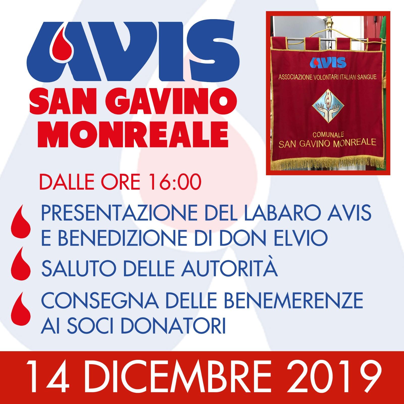 14 dicembre, AVIS San Gavino premia i donatori